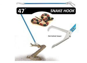 Fnova 47-inch Aluminum Alloy Professional Standard Snake Tong Reptile Grabber Rattle Snake Catcher Wide Jaw Handling Tool with Blue Coating and Good Grip Handle