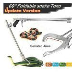 Futureup 60'' Foldable Snake Tongs Reptile Grabber, Rattlesnake Catcher Stick, Wide Serrated Jaw Handling Tool with Auto Lock and Non-slip Grip Handle
